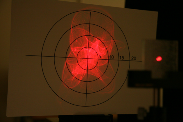 Scattering of laser light from a structured surface.